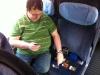 Sven beim Testen im Zug