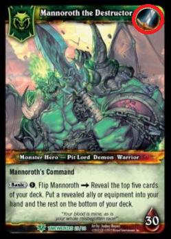 Bei Mannoroth handelt es sich um einen Krieger, wie vom Symbol oben rechts verdeutlicht.